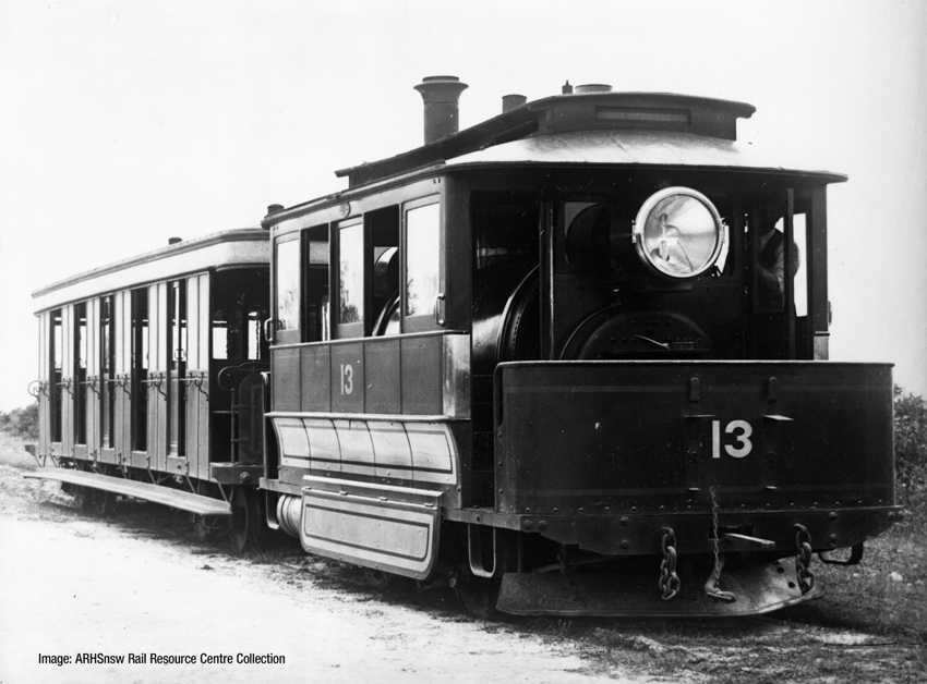 N.S.W. Government Tramways Baldwin Steam Tram Motor and Trailer